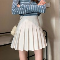 skirt Spring 2021 XS,S,M,L Gray, white, black, light blue check Short skirt commute High waist Pleated skirt Solid color Type A 18-24 years old 31% (inclusive) - 50% (inclusive) Other / other Korean version