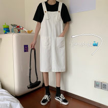 Dress Summer 2021 White, black S,M,L Middle-skirt singleton  Sleeveless commute Loose waist Solid color Socket straps 18-24 years old Type H Other / other Korean version 31% (inclusive) - 50% (inclusive)