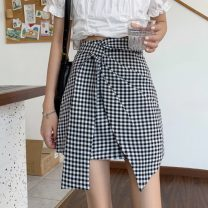 skirt Spring 2021 S,M,L Gray, black, black and white check Short skirt commute High waist Irregular Type A 18-24 years old 31% (inclusive) - 50% (inclusive) Other / other Asymmetry Korean version