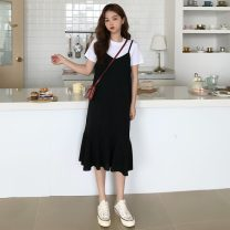 Dress Summer 2021 black M, L Mid length dress singleton  Sleeveless commute V-neck Loose waist Solid color Socket Ruffle Skirt other camisole 18-24 years old Type A Korean version 31% (inclusive) - 50% (inclusive)