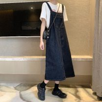 Dress Summer 2021 navy blue S,M,L longuette singleton  Sleeveless commute other Loose waist Solid color Socket A-line skirt other straps 18-24 years old Type A Other / other Korean version pocket 31% (inclusive) - 50% (inclusive) other other