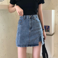 skirt Summer 2021 S,M,L,XL Blue, black, light blue Short skirt commute High waist skirt Solid color Type A 18-24 years old 31% (inclusive) - 50% (inclusive) other Pocket, make old Korean version