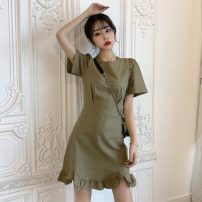 Dress Spring 2021 Army green S,M,L Short skirt singleton  Short sleeve commute Crew neck High waist Solid color Socket Ruffle Skirt routine Others 18-24 years old Type A Other / other Korean version Lotus leaf edge 31% (inclusive) - 50% (inclusive) other other