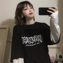 Sweater / sweater Spring 2021 black M,L,XL Long sleeves routine Socket Fake two pieces Thin money Crew neck easy commute letter 18-24 years old 31% (inclusive) - 50% (inclusive) Other / other Korean version polyester fiber