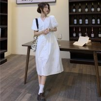 Dress Summer 2021 White, mint green Average size Mid length dress singleton  Short sleeve commute V-neck High waist Solid color Single breasted Big swing puff sleeve 18-24 years old Type A Other / other Korean version 31% (inclusive) - 50% (inclusive)