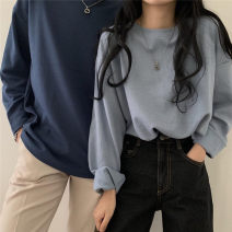 T-shirt White, red, green, blue, camel, black, coffee, deep lake blue, light ice blue, bean paste powder Average size Spring 2021 Long sleeves Crew neck easy Regular routine commute cotton 31% (inclusive) - 50% (inclusive) 18-24 years old Korean version Solid color Other / other