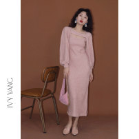 Dress Spring 2021 White Peach Oolong, black sesame paste Average size longuette Two piece set Sleeveless commute square neck High waist Solid color other other other Others 18-24 years old Type H Retro 31% (inclusive) - 50% (inclusive) knitting cotton