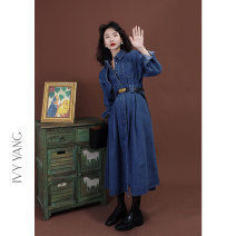 Dress Autumn 2020 Denim dark blue, denim light blue S, M Mid length dress singleton  Long sleeves commute Polo collar High waist Solid color Single breasted A-line skirt routine Others 18-24 years old Type A Retro 51% (inclusive) - 70% (inclusive) other other