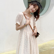 Women's large Summer 2021 Beige Dress singleton  commute easy thin Socket Short sleeve Solid color Korean version square neck Medium length Three dimensional cutting puff sleeve Other / other 18-24 years old Medium length Lotus leaf edge