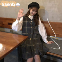 Women's large Spring 2021, winter 2021, autumn 2021 White shirt + Plaid Dress [suit] M (80-100kg), l (90-120kg), XL (120-140kg), 2XL (140-160kg), 3XL (160-180kg), 4XL (180-200kg) Dress Two piece set commute easy thick Cardigan Long sleeves lattice Korean version Polo collar routine Lotus leaf sleeve