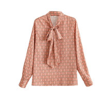 shirt Smoke Pink S,M,L Spring 2021 polyester fiber 96% and above Long sleeves street Medium length stand collar Socket routine 25-29 years old KEYANKETIAN Bow, print Europe and America