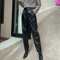 Casual pants S,M,L Winter 2020 trousers Wide leg pants High waist street routine 18-24 years old TRAF PU leather Europe and America