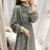Dress Spring 2021 longuette singleton  Long sleeves commute Half high collar High waist Broken flowers Socket Princess Dress Princess sleeve 18-24 years old Type A Other / other literature Lace 51% (inclusive) - 70% (inclusive)