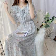 Dress Summer 2020 Fresh blue, gouache, orange with green background, orange with apricot yellow background S,M,L Mid length dress singleton  Short sleeve commute Doll Collar High waist Broken flowers Socket Big swing Princess sleeve 18-24 years old Type A Other / other lady printing Chiffon