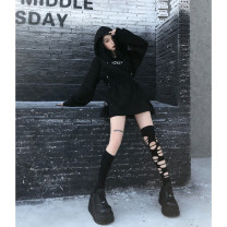 Dress Winter of 2019 Classic black S,M,L Short skirt singleton  Long sleeves street other High waist letter Socket A-line skirt routine 18-24 years old GG092 31% (inclusive) - 50% (inclusive) other cotton Hip hop