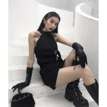 Dress Summer 2020 S,M,L Mid length dress singleton  Sleeveless street Crew neck High waist Solid color Socket A-line skirt routine camisole 18-24 years old Type A Button More than 95% other other Europe and America