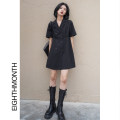 Dress Spring 2021 Black, size chart S,M,L Middle-skirt singleton  Short sleeve commute tailored collar Solid color double-breasted A-line skirt routine Others 18-24 years old Type A Simplicity Button BH07038 More than 95% polyester fiber