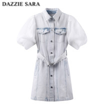 Dress Summer 2021 wathet XS,S,M Short skirt singleton  Short sleeve commute Polo collar High waist Solid color Single breasted A-line skirt routine Others 25-29 years old Type A Yididisin Retro Button Yididisin 71% (inclusive) - 80% (inclusive) Denim cotton