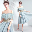 Dress / evening wear Wedding, adulthood, party, company annual meeting, performance XXL,XXXL,XS,S,M,L,XL Smoke cyan Sweet Short skirt middle-waisted Autumn 2020 Skirt hem One shoulder Bandage Netting 18-25 years old Short sleeve Embroidery Angel wedding dress 96% and above Hand embroidery