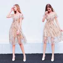 Dress / evening wear Wedding, adulthood, party, company annual meeting, performance XXL,XXXL,XS,S,M,L,XL Champagne gold fashion Medium length middle-waisted Autumn 2020 Skirt hem Sling type zipper Netting 18-25 years old Short sleeve Nail bead Angel wedding dress 96% and above Sequins