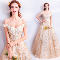 Dress / evening wear Wedding, adulthood, party, company annual meeting, performance XXL,XXXL,XS,S,M,L,XL Champagne gold fashion longuette middle-waisted Autumn 2020 Fall to the ground One shoulder Bandage Netting 18-25 years old Sleeveless Nail bead Angel wedding dress 96% and above Sequins