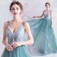 Dress / evening wear Wedding, adulthood, party, company annual meeting, performance XXL,XXXL,XS,S,M,L,XL wathet princess longuette middle-waisted Autumn 2020 Fluffy skirt Sling type Bandage Netting 18-25 years old Sleeveless Embroidery Angel wedding dress 96% and above machine embroidery