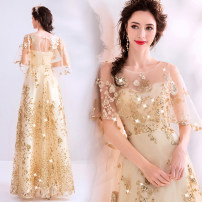 Dress / evening wear Wedding, adulthood, party, company annual meeting, performance XXL,XXXL,XS,S,M,L,XL golden fashion longuette middle-waisted Autumn 2020 Self cultivation One shoulder Bandage Netting 18-25 years old elbow sleeve Nail bead Angel wedding dress 96% and above Sequins