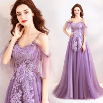 Dress / evening wear Wedding, adulthood, party, company annual meeting, performance XXL,XXXL,XXS,XS,S,M,L,XL Immortal Qi purple fashion longuette middle-waisted Autumn 2020 Fall to the ground Sling type Bandage Netting 18-25 years old Short sleeve Embroidery Angel wedding dress 96% and above