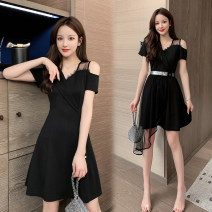 Dress Summer 2020 black S,M,L,XL,2XL Middle-skirt Two piece set Short sleeve commute V-neck High waist Irregular skirt 18-24 years old Other / other Korean version 51% (inclusive) - 70% (inclusive) polyester fiber
