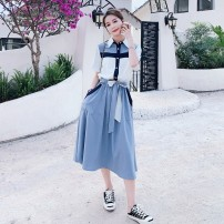 Dress Chiffon Summer 2021 Medium length skirt Short sleeve singleton  commute Solid color square neck High waist Single breasted Big swing other 81% (inclusive) - 90% (inclusive) Type A Other ZB172172-8108 Korean version Splicing Other / other S,M,L,XL