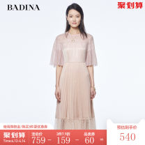 Dress Summer 2021 light pink S M L XL Mid length dress singleton  Short sleeve commute Crew neck High waist Solid color Socket Pleated skirt Hanging neck style 30-34 years old Type H Pattina lady Lace 602U042 More than 95% Lace polyester fiber Polyester 100% Pure e-commerce (online only)