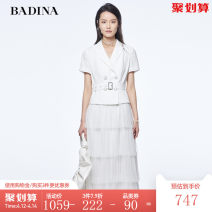Dress Summer 2021 Benbai S M L Mid length dress singleton  Short sleeve commute tailored collar High waist Solid color double-breasted Cake skirt routine 30-34 years old Type X Pattina Ol style Splicing 81% (inclusive) - 90% (inclusive) polyester fiber Pure e-commerce (online only)