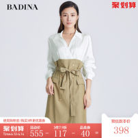 Dress Autumn 2020 khaki XS S M L XL XXL Mid length dress singleton  Long sleeves commute High waist stripe double-breasted One pace skirt shirt sleeve 30-34 years old Type H Pattina Ol style Splicing More than 95% other Viscose (viscose) 100% Same model in shopping mall (sold online and offline)