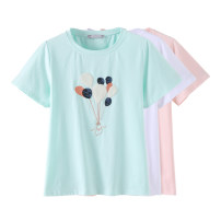 Women's large Summer 2021 White, green, pink Large L, large XL, 2XL, 3XL, 4XL, 5XL T-shirt singleton  commute easy moderate Socket Short sleeve Plants and flowers Korean version Crew neck routine cotton Three dimensional cutting routine Beauty trends 25-29 years old Embroidery