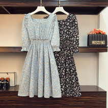 Women's large Summer 2021 Black, blue Large L, large XL, 2XL, 3XL, 4XL Dress singleton  commute easy moderate Socket Long sleeves Broken flowers Korean version square neck Three dimensional cutting routine Beauty trends 25-29 years old 96% and above Medium length