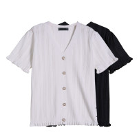 Women's large Summer 2021 Black, white XL [small average], 2XL [average], 3XL [big average] T-shirt singleton  commute easy thin Socket Short sleeve Solid color V-neck routine Three dimensional cutting routine Beauty trends 25-29 years old Button 51% (inclusive) - 70% (inclusive)