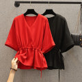 Women's large Summer 2021 Black, red Large L, large XL, 2XL, 3XL, 4XL shirt singleton  commute easy Socket Short sleeve Solid color Korean version V-neck routine Three dimensional cutting routine HS20X8131 Beauty trends 25-29 years old 96% and above