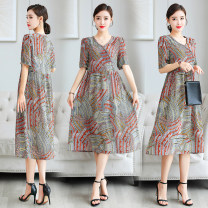 Dress Summer 2020 Picture color M,L,XL,2XL,3XL Mid length dress singleton  Short sleeve Sweet V-neck middle-waisted Decor Socket A-line skirt routine Others Type A Printing, ribbon More than 95% polyester fiber Bohemia
