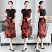 Dress Summer 2020 Picture color L,XL,2XL,3XL,4XL Middle-skirt Fake two pieces Short sleeve commute stand collar middle-waisted Decor Three buttons A-line skirt routine Others Type H Retro Stitching, button, mesh, printing, retro button More than 95% polyester fiber
