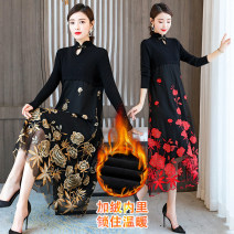 Dress Winter 2020 Red maple leaf, yellow maple leaf M,L,XL,2XL,3XL Mid length dress singleton  Long sleeves commute stand collar High waist Decor A button A-line skirt routine Others Type A Retro Hollowed out, embroidered, stitched, button, mesh 1562-7 maple leaf More than 95% polyester fiber
