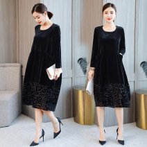 Dress Winter 2020 black M,L,XL,2XL,3XL Mid length dress singleton  Long sleeves commute Crew neck Loose waist Solid color Socket A-line skirt routine Others Type A Korean version Cut out, pocket, stitching, lace More than 95% velvet polyester fiber