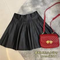 skirt Autumn 2020 XS,S,M,L,XL Black umbrella skirt, black A-line skirt (small slit in front) Short skirt Versatile High waist Pleated skirt Solid color Type A
