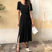 Dress Summer 2021 black XS,S,M,L,XL,2XL,3XL,4XL,5XL Mid length dress singleton  Short sleeve commute Crew neck Loose waist Solid color Socket Pleated skirt routine Others 25-29 years old Type X Ol style Open back, stitching J200523B 31% (inclusive) - 50% (inclusive) other cotton