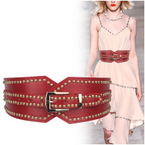 Belt / belt / chain top layer leather Black, off white, camel, red, coffee female belt Versatile Single loop Youth, youth, middle age Pin buckle rivet soft surface alloy Bare body, rivet, heavy line decoration, elastic