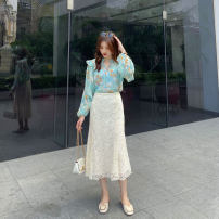 skirt Spring 2021 S,M,L Apricot Middle-skirt commute Natural waist 18-24 years old More than 95% other other
