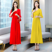 Dress Spring 2021 Blue, green, yellow, red, Fuchsia, rose, sky blue XL,2XL,3XL,4XL,L,M longuette singleton  elbow sleeve commute V-neck High waist Solid color zipper Big swing other Others 25-29 years old Type A Splicing 51% (inclusive) - 70% (inclusive) Chiffon polyester fiber