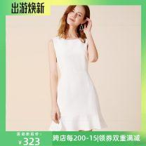 Dress Spring of 2019 white S,M,L Short skirt singleton  Sleeveless commute Crew neck High waist Ruffle Skirt 25-29 years old Type X Reflection YS19418