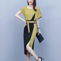 Women's large Summer 2020 Qiuxiang yellow and black [big sister's big dress], [new dress 2020 celebrity / small fragrance], [elegant dress / big summer dress], [small dress / big summer dress, fat mm] Dress singleton  commute easy moderate Socket Short sleeve Solid color Korean version other routine