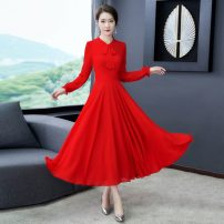 Women's large Spring 2021 Dress singleton  commute easy moderate Socket Long sleeves Solid color Korean version other Three dimensional cutting routine 25-29 years old longuette other Lotus leaf edge