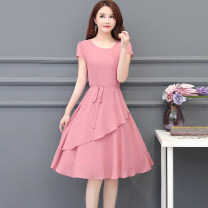 Dress Summer 2021 Mid length dress singleton  Short sleeve commute other Solid color other routine Others 25-29 years old Korean version